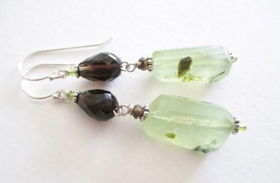Cocoa Mint, grasshopper, smoky quartz and prehnite earrings