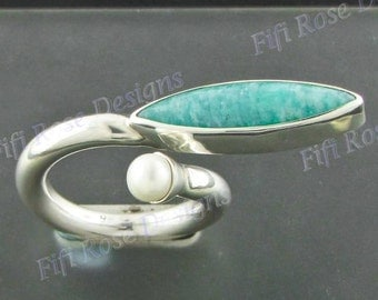 Design Amazonite Freshwater Pearl 925 Sterling Silver Sz 7 Ring