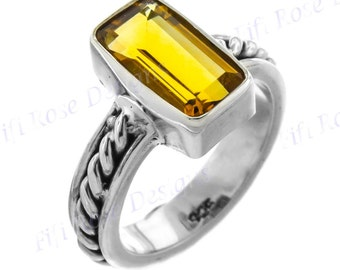 Adorable Citrine Gems 925 Sterling Silver Sz 6 Ring