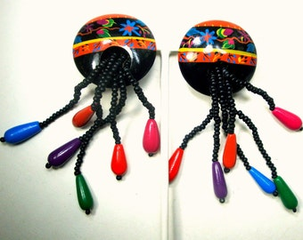 Colorful Folk Dangle Earrings, 1980s Long Beaded Dangles with Painted Button Top Post, Wood , FUN, Vintage