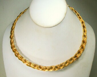 Woven Gold Wire Neckring, Dynamic Metro Tribal Vintage Neckring Torque, Adjustable Length, Viking Style