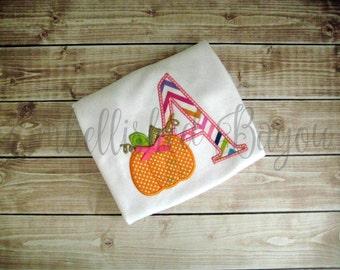 Fall Pumpkin with Initial Appliqued Ruffle T-shirt  for Girls