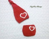 Valentines Newborn to 3 Month Old Baby Girl Heart Stocking Hat and Diaper Cover Set Red and White