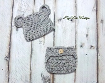 Newborn to Three Month Old Crochet Baby Bear Hat and Diaper Cover Set Variegated Brown