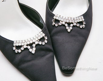 Rhinestone Wedding Shoe Clips, Vintage MUSI Rhinestone Shoe Clips, Art Deco Crystal Shoe Decorations