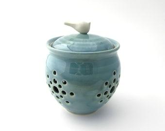Handmade Pottery Little Birdie Garlic Keeper // Garlic Jar in Robins Egg Blue