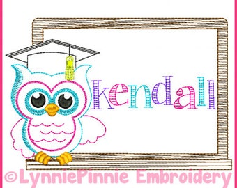 School Owl Colorwork Sketch Embroidery Design 4x4 5x7 6x10 Machine Embroidery Design