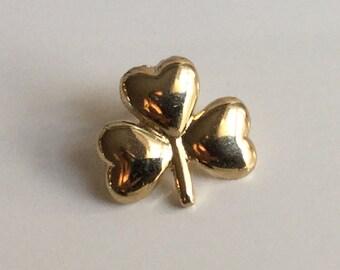 Shamrock Tie Tack in Gold Tone - Lapel pin