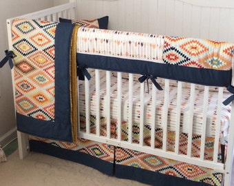 Tribal Baby Boy Crib Bedding Set Navy Gold Mint Made to Order