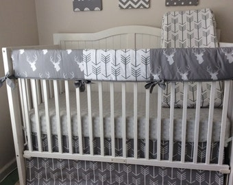 Complete Bumperless Crib Bedding Set Gray White Navy Blue