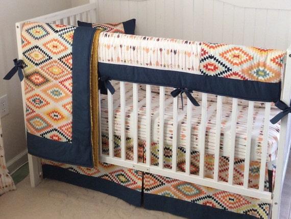 Tribal Baby Boy Crib Bedding Set Navy Gold Mint Made To Order
