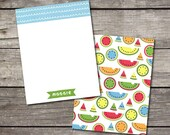 Personalized Set of 10 Whimsical Watermelon Stationery for Girls Tweens Teens Teacher Gift Thank You Notes or Personal Stationery