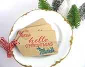 Hello Christmas Kraft Gift Tags~set of 6~Holly Red~Emerald Green~snow white~Dec 24th~Pretty Packaging~Gift Topper