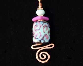 "Handmade ""SCROLLS & SPIRALS"" Artisan Necklace, Hammered Copper, Kiln Annealed Lampwork in Copper Green, Evil Purple and Black"