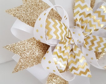 Gold Glitter Hair Bow- Babys first New Years Eve Bow- 4 inch Holiday Pinwheel Bow on alligator clip- White and Gold Winter Girls bow- #271