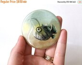 SUMMER SALES EVENT Mr. Fishy Friend On His Own Pocket Mirror Made from Original Art Print with Organza Bag