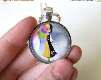 "SUMMER SALES EVENT Art Necklace - ""Causing A Stir"" -  Real Glass 1 inch Sized with Organza Bag Made From Original Art Print"