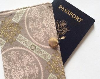 Passport Cover, Passport Wallet, Beautiful Tile Print with Antique Button Family passport case