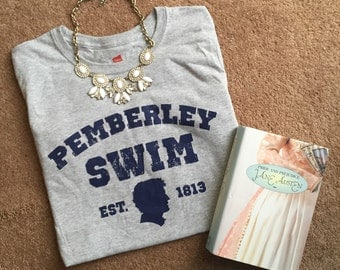 READY to SHIP Womens Pemberley Swim Pride and Prejudice t shirt gray and navy sizes S-XL loose fit