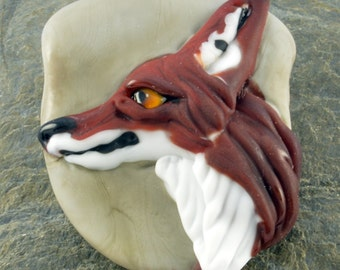 Fox Focal Bead Sculpture - Flameworked Glass Bead - Handmade Lampwork Glass Sculpture Bead