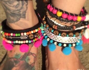 Boho style pompom cuff bracelet 2