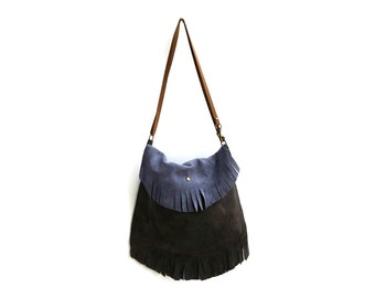 Suede Fringed Boho Bag in Pewter and Charcoal Gray. Small Leather Bag. Women's Bohemian Bag. Messenger Bag. Gift for Her - Artial-