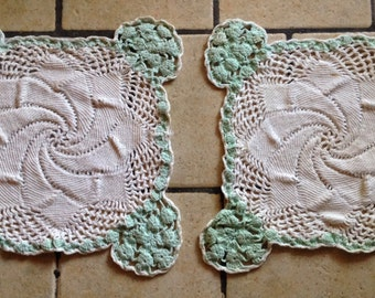 Pair of Matching White and Mint Square Hand-Crocheted Doilies