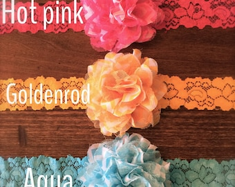 Headbands Chiffon and Lace on Stretch Lace-Three Colors Available