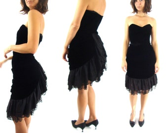80s party dress formal strapless bustle back lace velvet black small