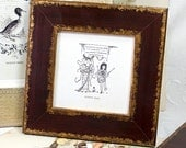 5x5inch Dark Red-Brown Photo Frame with gold edging