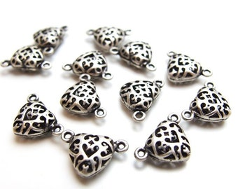 wholesale -10% / X206SA / 40Pc / 13x9mm - Matte Antique Silver Plated Hollow Filigree Heart Shape Connector / Pendant Findings