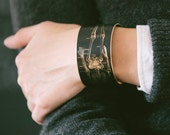 Anatomical Human Skeleton Brass Cuff Bracelet in Black - Science Jewelry - Cool Geek Gift Under 45