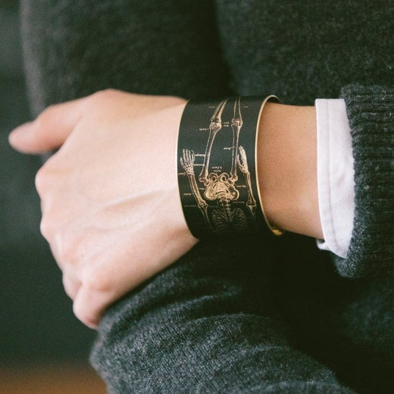 Anatomical Skeleton - Brass Bracelet - Anatomy Cuff - Geeky Jewelry - Medical Illustration - Geek Gift - Science - Doctor Gift For Her