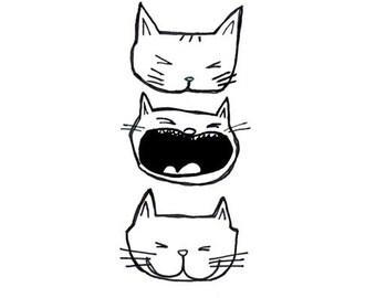 Cat Print Black and White