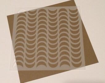 Square 5 inch stencil - Waves