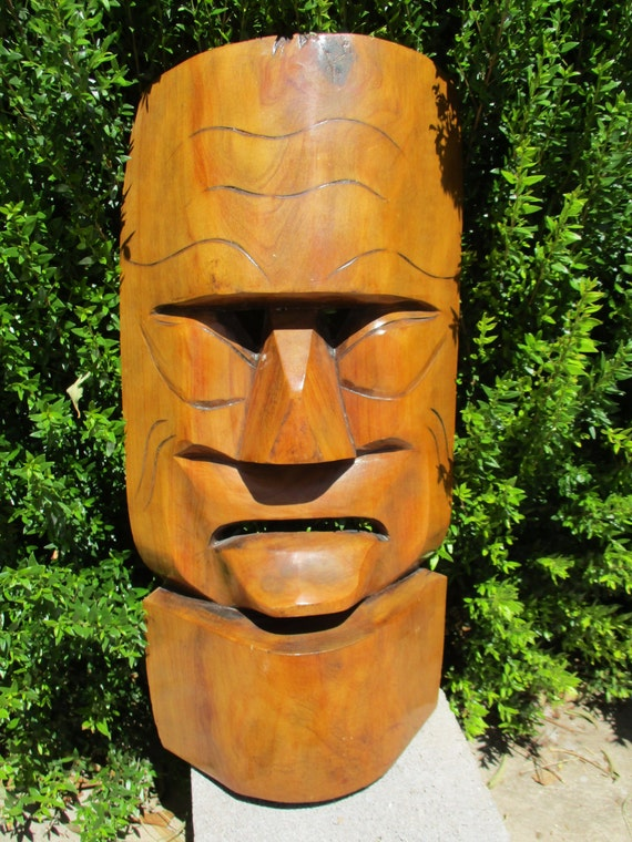 Vintage large african primitive face mask wood carving wall