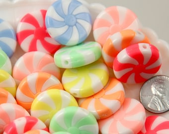 Candy Beads - 23mm Amazing Peppermint Swirl Beads Bright Pastel Color Candy Shape Chunky Acrylic or Resin Beads - 12 pc set