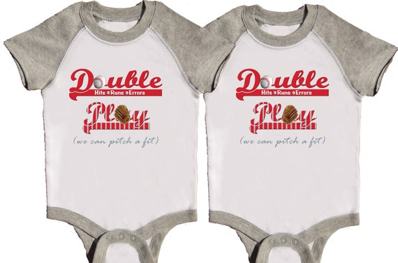 Funny Twin Boys One Pieces Twin Baseball Rompers Grey Raglan Sleeve Creeper by Mumsy Goose