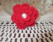 Beautiful Crochet Red With Little Sparkle Rose Brooch Pin Embellishment Applique With Pearly Center
