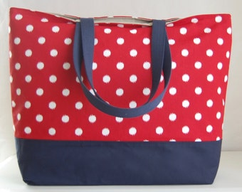 Red Dots XL Extra Large Beach Bag / BIG Tote Bag - Ready to Ship