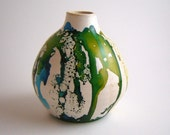 Blue Green Vase - Ceramic Vessel - Ocean Colors - Stoneware Pottery - Home Décor - Alcohol Ink - Gift for Her Him