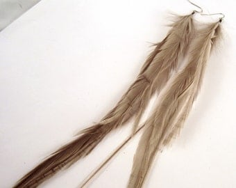 Long Feather Earrings natural gray