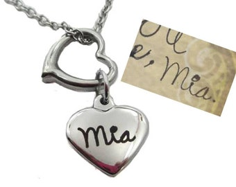 Custom Handwriting Double Heart Necklace with your loved one's actual handwriting, stainless steel