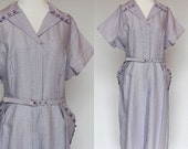 60's Shirtwaist Dress / Hidden Zipper Front / Purple Violet Check / XLarge to XXLarge