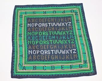 "80's Echo Scarf / Cross Stitch Alphabet / Green / 26"" Square"