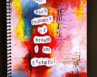 """Grateful for Each Moment of Breath 5.5"""" x 8.5"""" Coil Bound Gratitude Journal, Stationery, Wholesale Notebooks"""