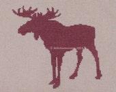 16007 Moose Silhouette - Original Design Cross Stitch PDF Pattern - DIGITAL DOWNLOAD