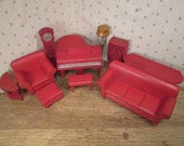 Strombecker Doll House Furniture 1931 - Complete Red and Gold Living Room Set - One Inch Scale