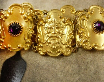 Antique Russian gold plate Ormolu Amethyst Belt jeweled bacchus Victorian greenman gargoyle Bacchus