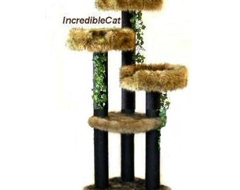 ELEGANT CAT FURNITURE 5' High Colorado, Sturdy Cat Tower, Best Cat Beds, Designer Cat Tree, Elegant Cat Condo Modern Cat Tree Colorado 5F3Bp
